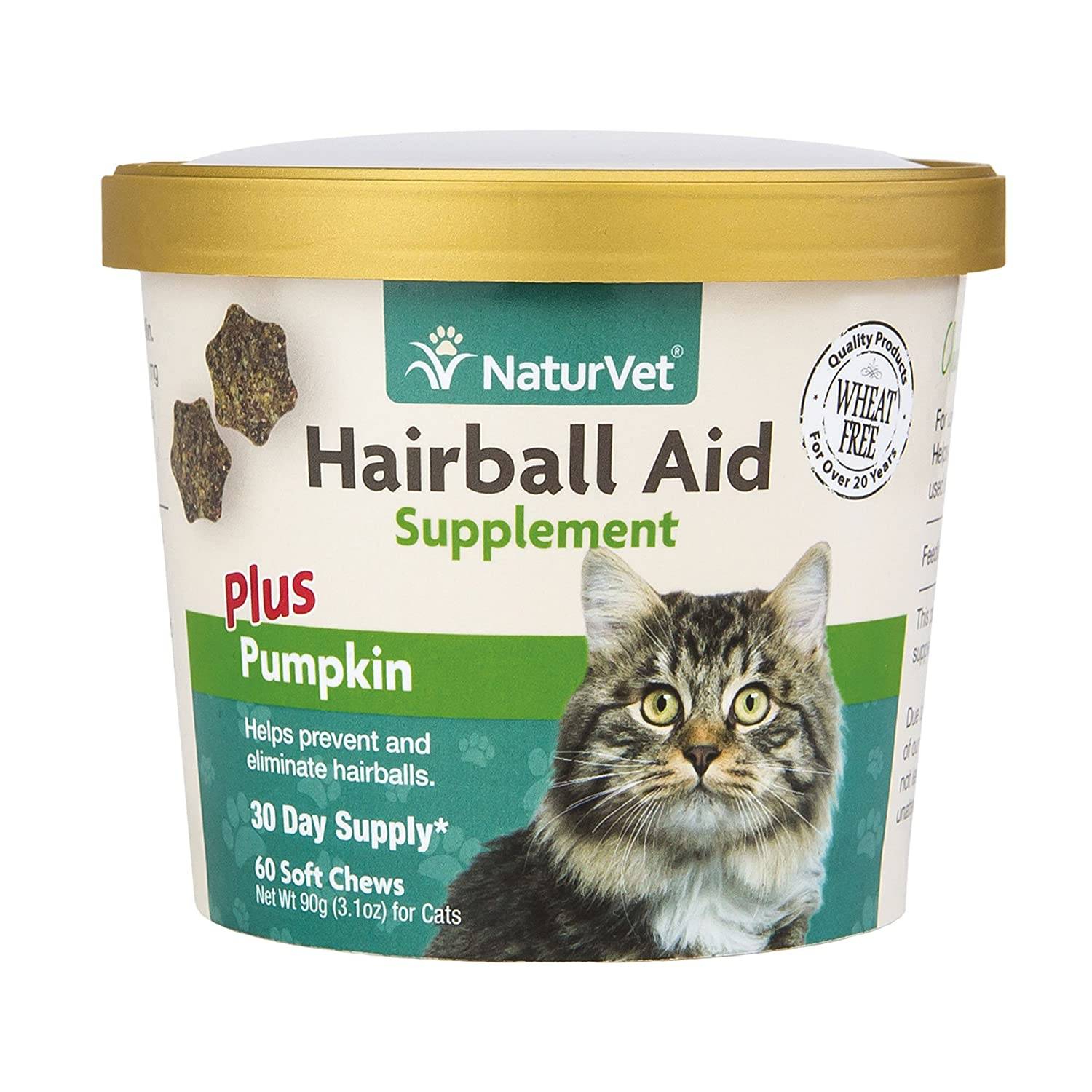 NaturVet Hairball Aid Plus Pumpkin for Cats, 60 ct Soft Chews, Made in USA AniPet Animal Supply 79903646