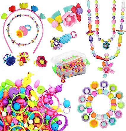 BLAZOR Loisirs Créatifs Coffret Bricolage Filles, idée Cadeau creatif 3 4 5  6 7 8 9 10 Fille,Bracelet Perles Enfants,Collier de Bonbons, Bagues et