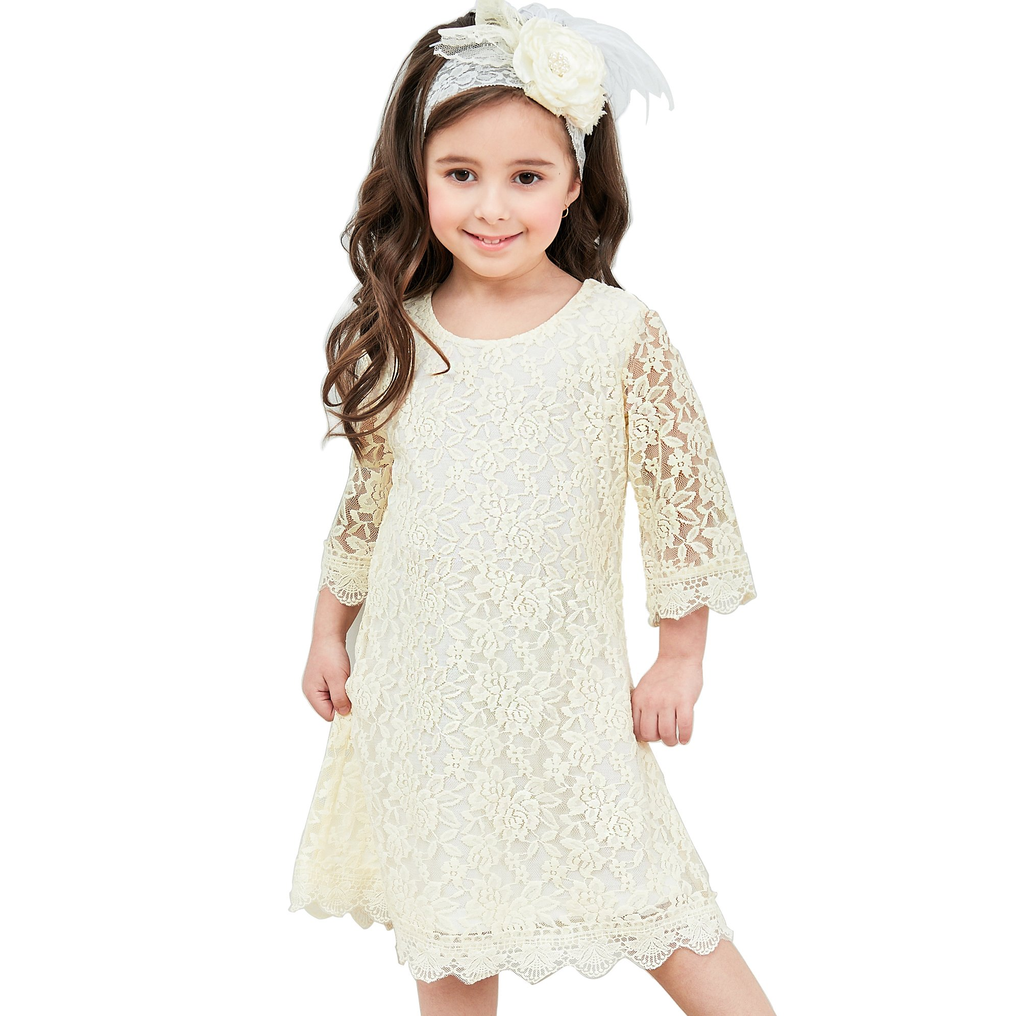 APRIL GIRL Flower Girl Dress, Lace Dress 3/4 Sleeve Dress (Ivory, 2T)
