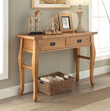Amazon.com: Fakhoury Antique Pine Pine Wood Console Table: Kitchen U0026 Dining