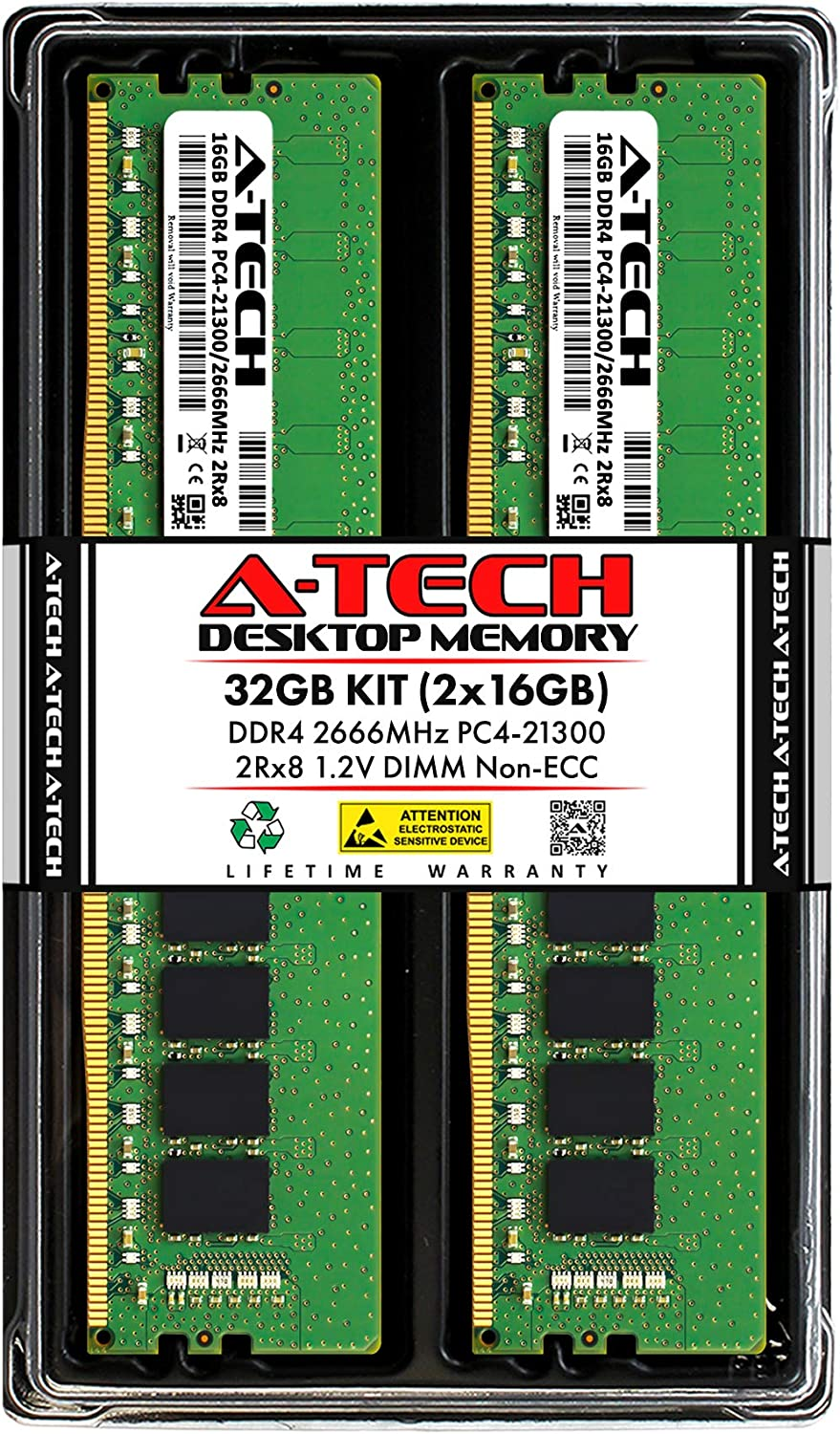 A-Tech 32GB (2x16GB) DDR4 2666MHz DIMM PC4-21300 UDIMM Non-ECC 2Rx8 1.2V CL19 288-Pin Desktop Computer RAM Memory Upgrade Kit