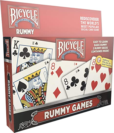 Gin Rummy Card Game Set with Playing Cards Four Card Holders and Score Pad with Game Instructions by All7s