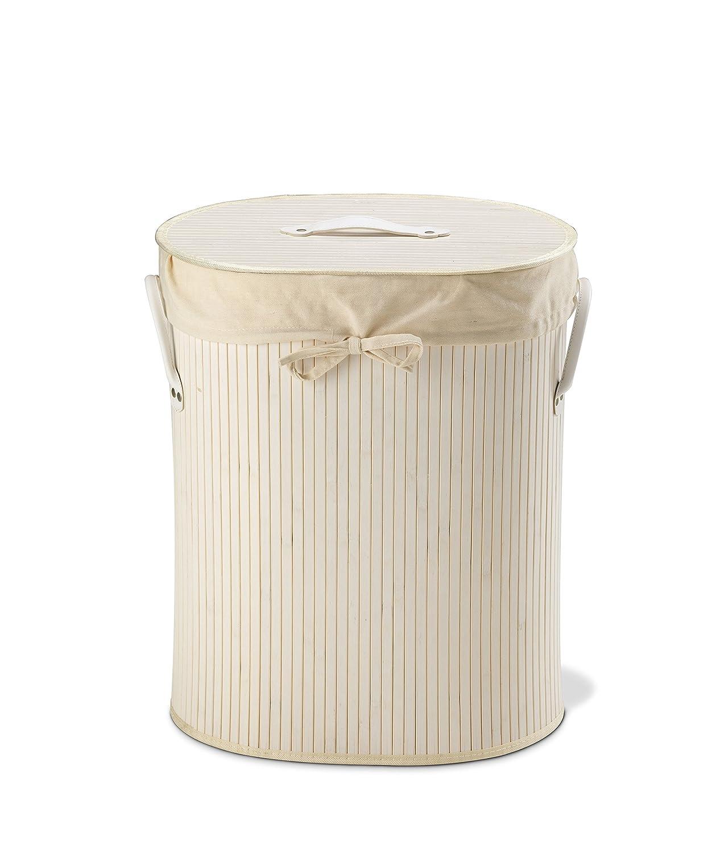 King Home p1120206Wäschekorb Bambus oval, weiß weiß Biacchi