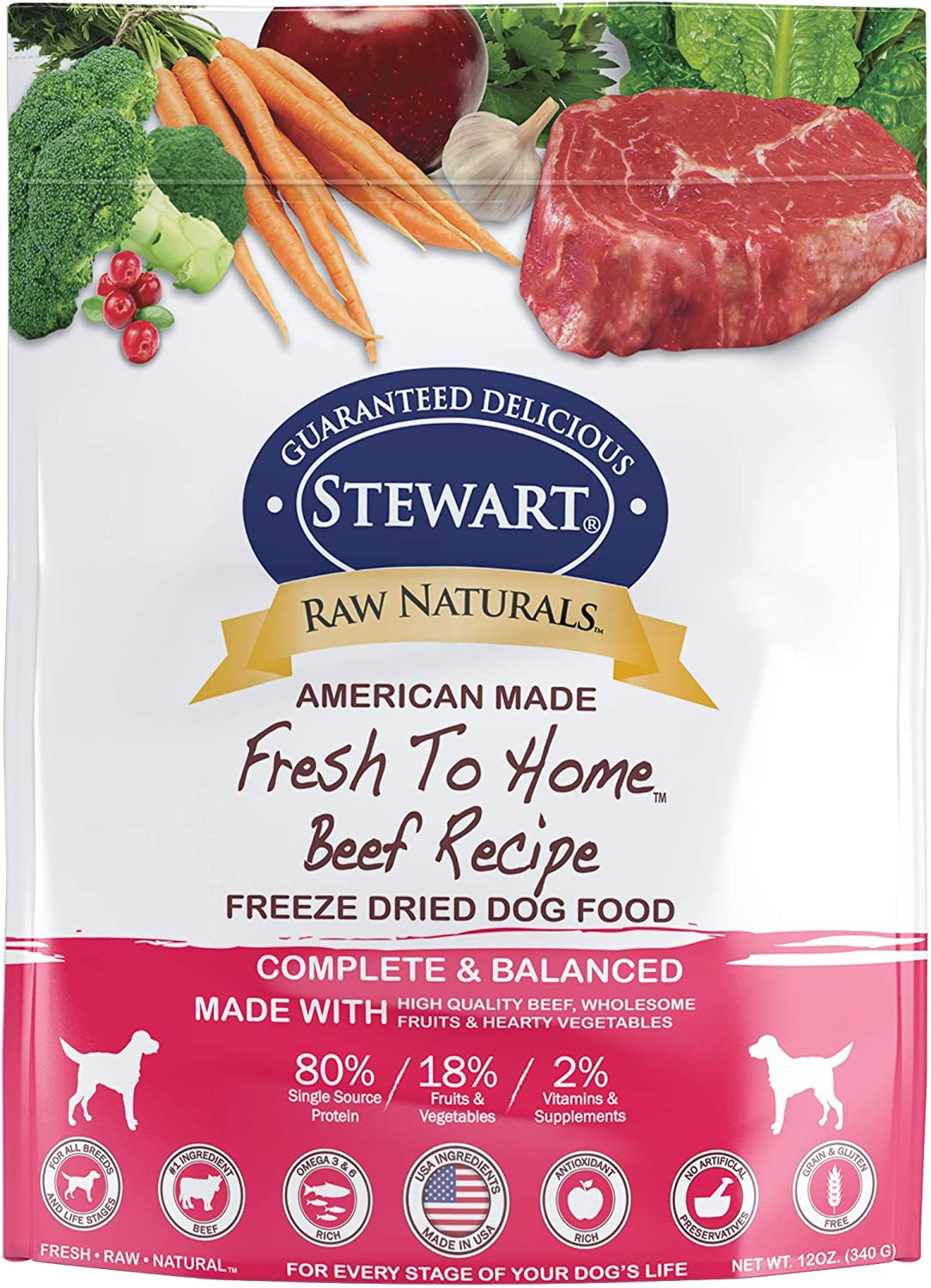 Stewart Raw Naturals Freeze Dried Dog Food Grain Free Made in USA