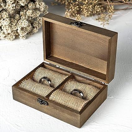 Futureyun - Caja para Anillos de Madera, diseño rústico, para Boda, Boda,