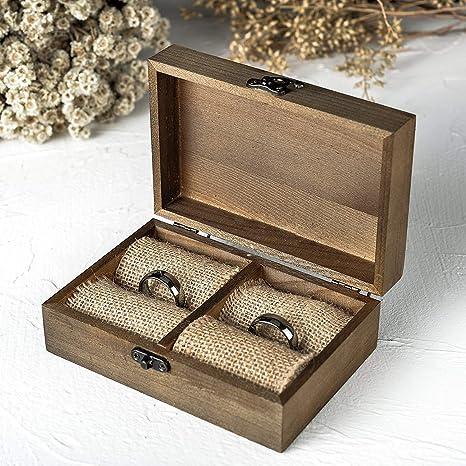Futureyun - Caja para Anillos de Madera, diseño rústico ...