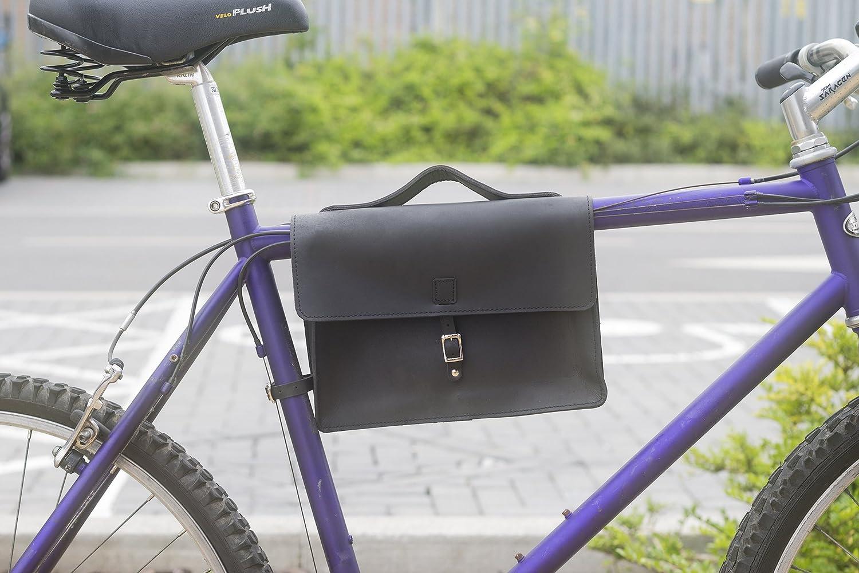 Classic Cadre sacoche sac pour v/élo Cuir v/éritable Noir sacoche de v/élo