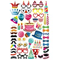 MotGlobal 52 pcs Photo Booth Props Kit Festa Forniture DIY Accessori per Compleanno del Partito