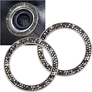ToBeQueen Car Bling Ring Stickers Auto Engine Start Stop Sticker Emblem Car Decor Bling Rhinestone Car Accessories Diamond Car Button Stickers for Women Girl 2 Pcs,Black