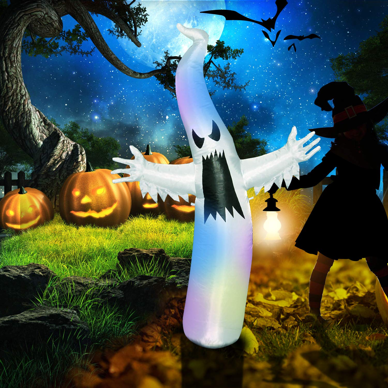 Pop-Tech 6ft Scary Airblown Halloween Inflatable Ghost with LED Lights Decor for Kids Indoor Outdoor Yard Garden Party Decorations Includes Stakes and Sandbags