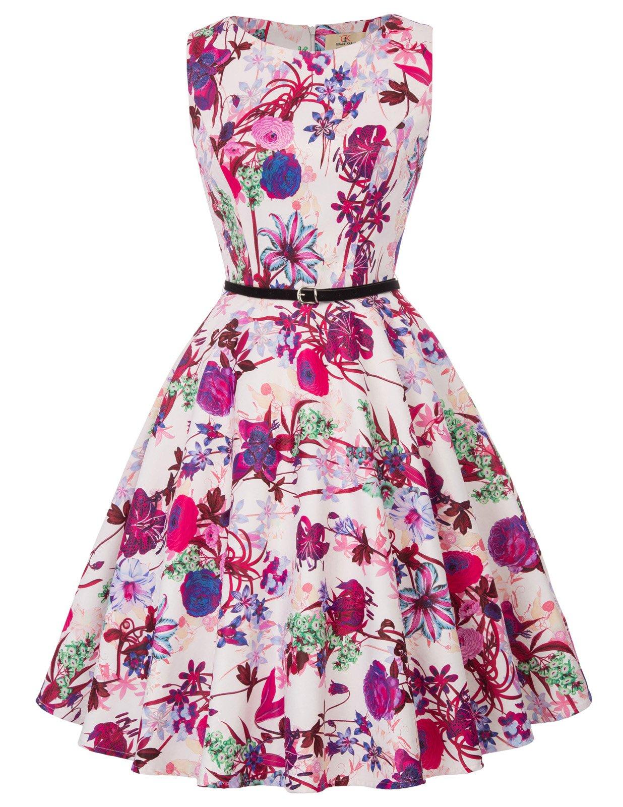 d882092e86bc65 Galleon - Belle Poque Boat Neck Sleeveless Swing 1950's Vintage Dress  Floral-2 Size M BP754-2