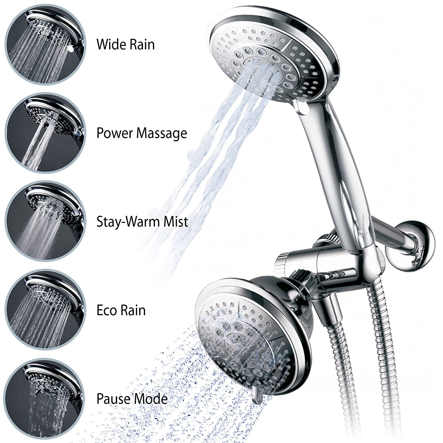 Hydroluxe Full-Chrome 24 Function Ultra-Luxury 3-way 2 in 1 Shower ...
