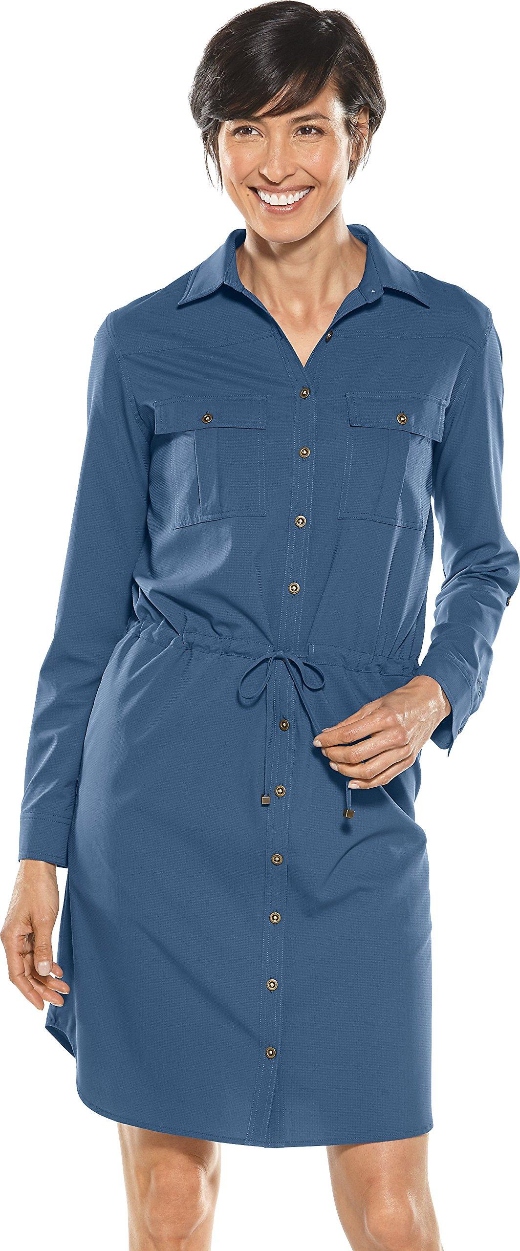 Coolibar UPF 50+ Women's Travel Shirt Dress - Sun Protective (Small- Marine Navy)