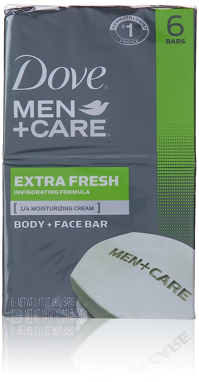 Dove Men+care Extra Fresh Body + Face Soap Bars, 3.17 Oz, 6 Count