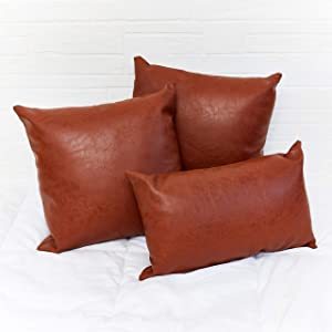 Faux Brown Leather Pillow Cover Set of 3 - Decorative Throw Pillow Covers Only - Sofa, Den, Bedroom, Sunroom, Living Room, Decor - Modern, Bohemian, Farmhouse Pillow Covers