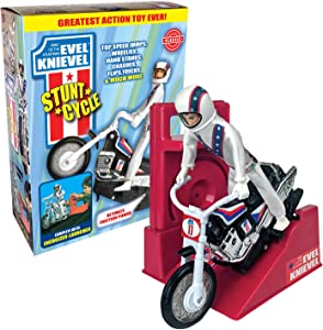 California Creations The Amazing Wind-up and go Extreme Evel Knievel Stunt Cycle with Energizer Launcher and Stunt Trail Bike - The 1970's Sensation is Back