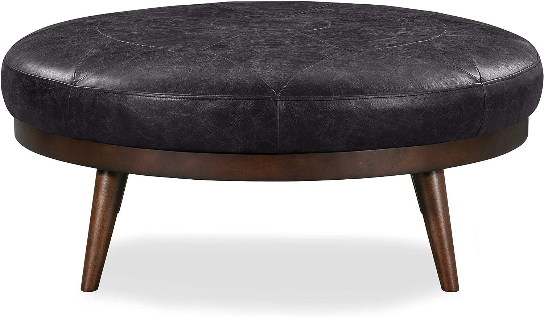 POLY & BARK Gio Ottoman in Full-Grain Semi-Aniline Italian Tanned Leather in Onyx Black