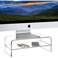Homeries Computer Monitor Stand 2-Tier Acrylic, Universal Computer Riser for Home, Office, Business, Desk, Gamers…