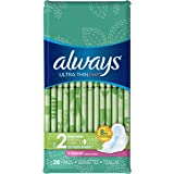 Always Ultra Thin Fresh Size 2 Long Pads With Wings, Super Aborbency, Scented, 28 count, Packaging May Vary