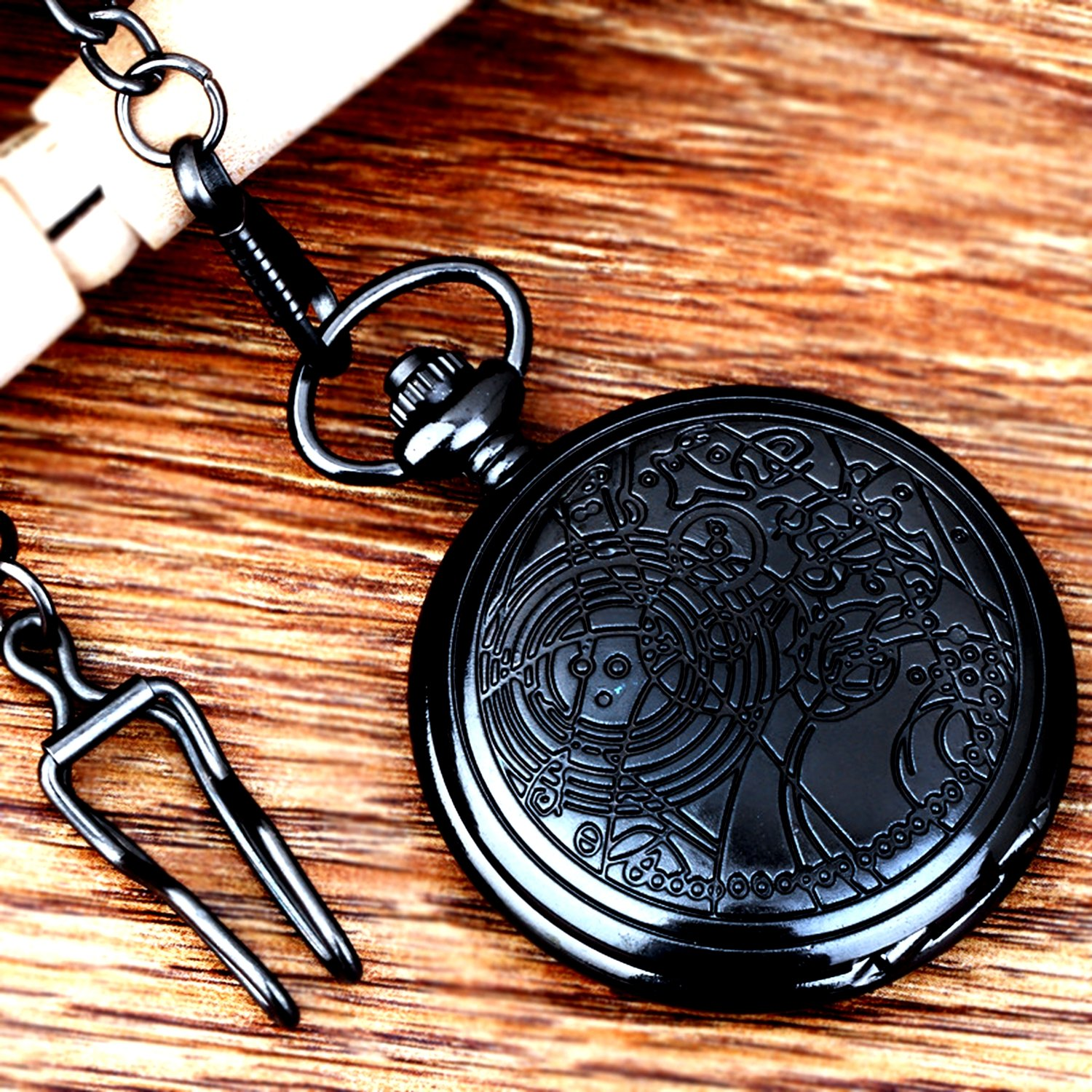 Vintage Black Doctor Who Retro Dr. Who Quartz Pocket Watch with Chain & Gift Box by New Brand Mall (Image #5)