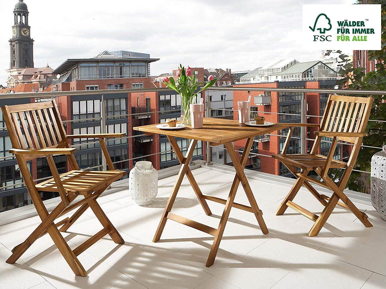 Gartengruppe camelia akazien holz 1x tisch 62x62 cm 2x klappsessel set klappbar massives balkonset