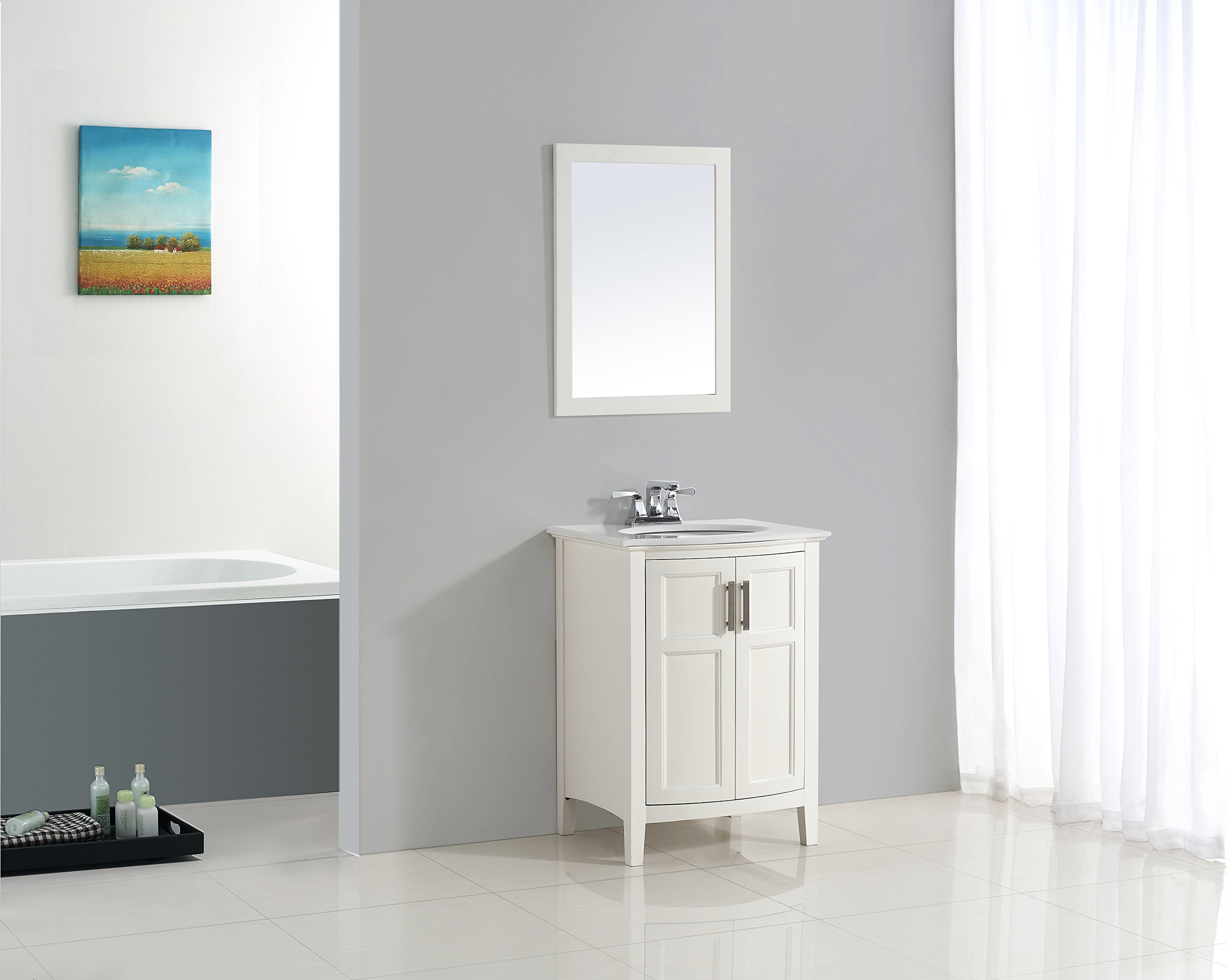 Simpli Home Winston 24'' Bath Vanity Rounded Front with Quartz Marble Top, Soft White by Simpli Home (Image #2)