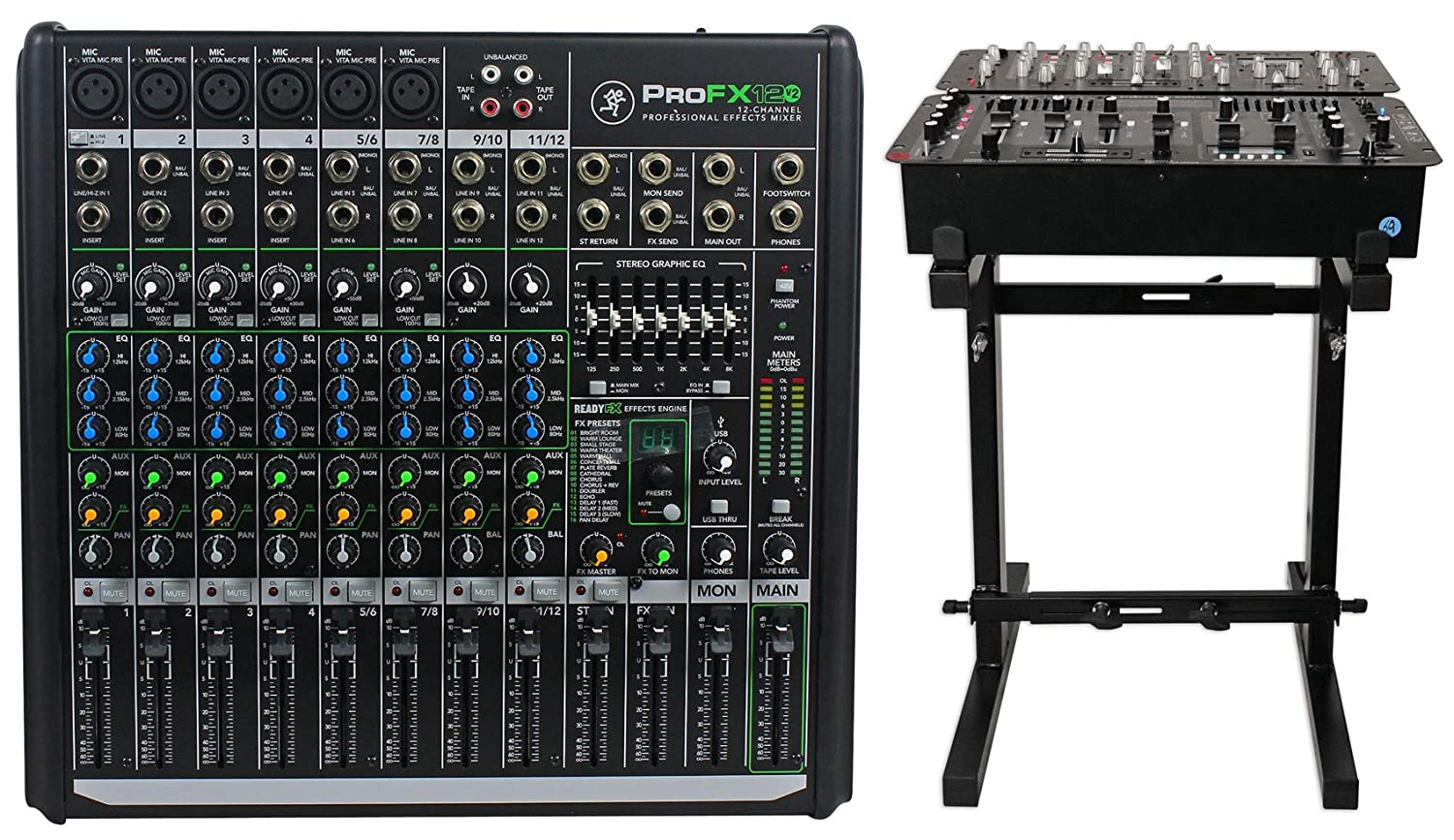 Mackie PROFX12v2 Pro 12 Channel Compact Mixer w Effects and USB PROFX12 V2+Stand ProFX12v2+RXS20