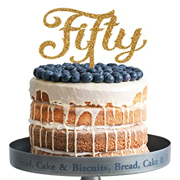 Amazon Fifty Happy Birthday Cake Topper Gold Glitter Acrylic