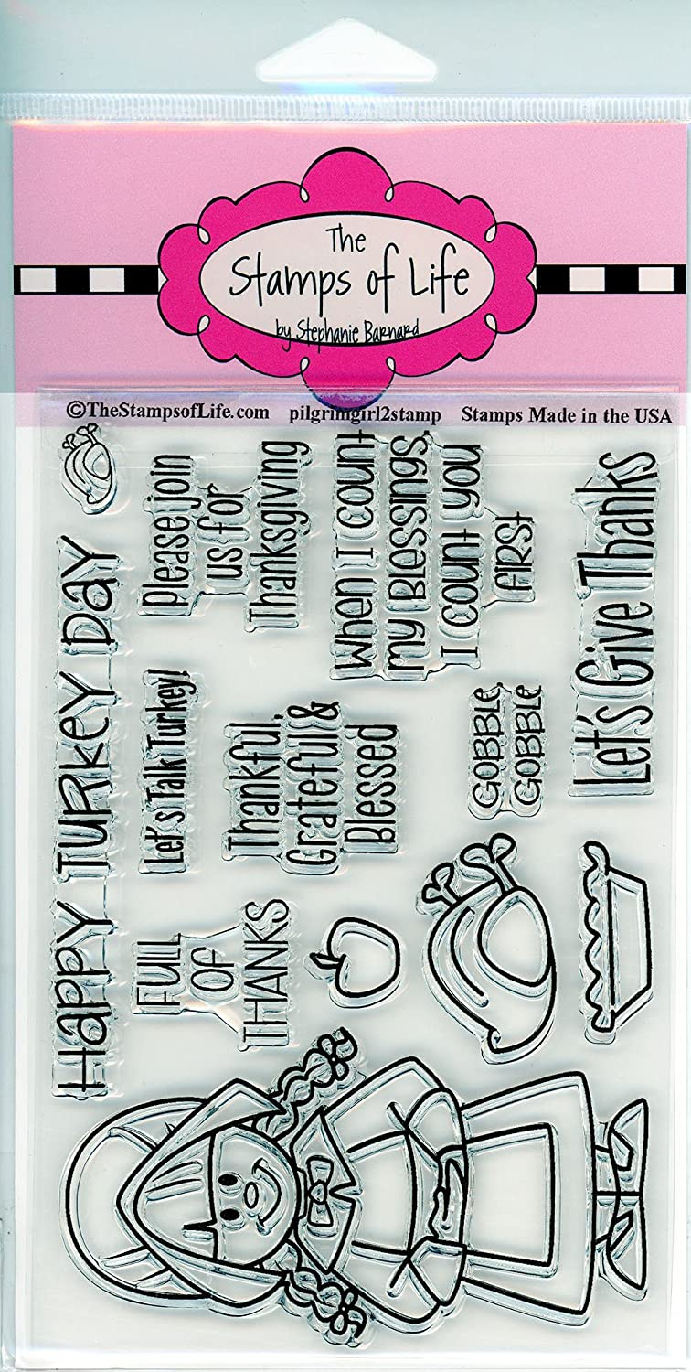 Pilgrim Girl Stamps for Card-Making and Scrapbooking Supplies by The Stamps of Life - PilgrimGirl2Stamp Thanksgiving