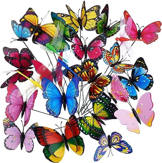 Shappy Estacas de Mariposas Libélulas de Jardín Adornos Decoraciones de Jardín Materiales de Fiesta, 24 Piezas en Total: Amazon.es: Jardín