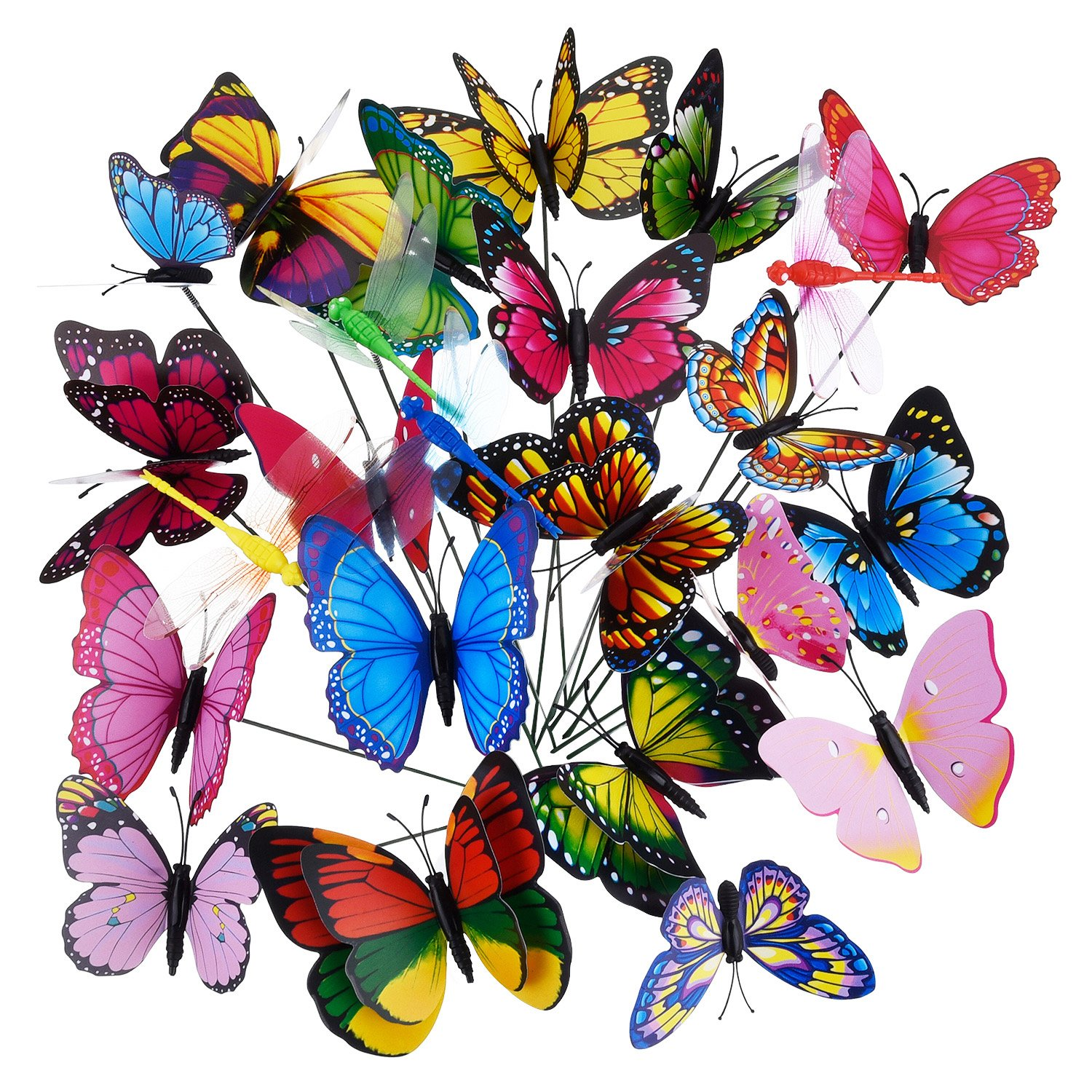24 Pieces in Total Garden Butterflies on Sticks Dragonflies Butterflies Stakes Butterflies Decorations Ornaments Party Supplies