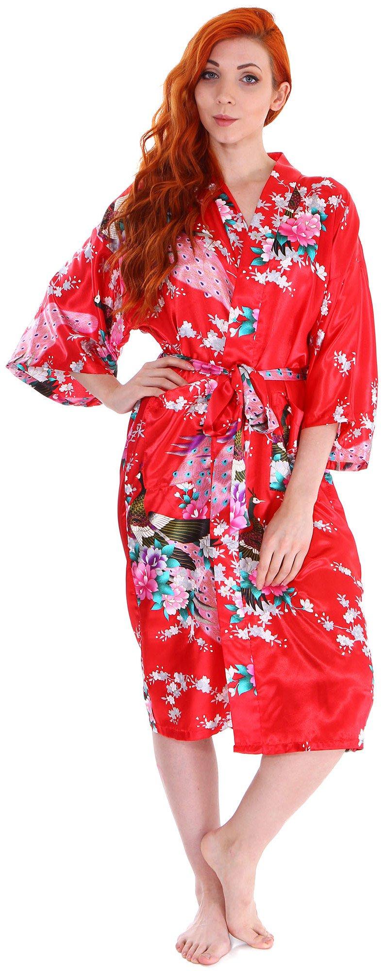 Women's Kimono Robes Peacock Blossoms Silk Satin Long Nightgown Sleepwear, Red