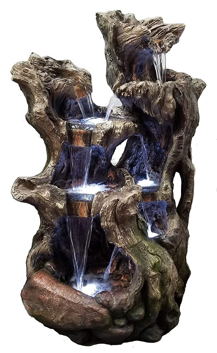 Major-Q 41 H Decoration Feng Shui Tree Trunk Rock Like Waterfall Fountain with 6 LED Light, 173002