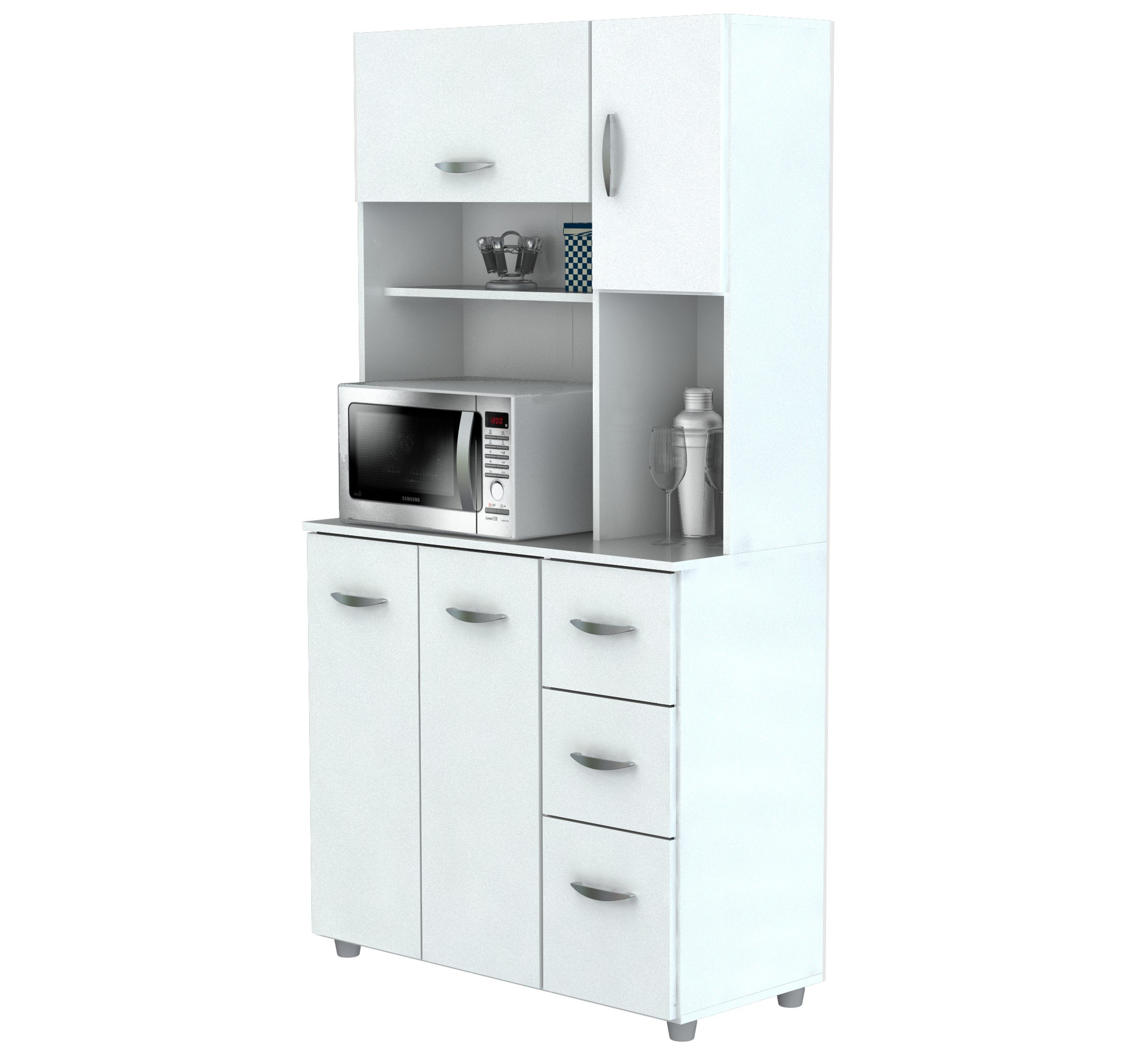 Inval America 4 Door Storage Cabinet with Microwave Cart, Laricina White by Inval America (Image #6)