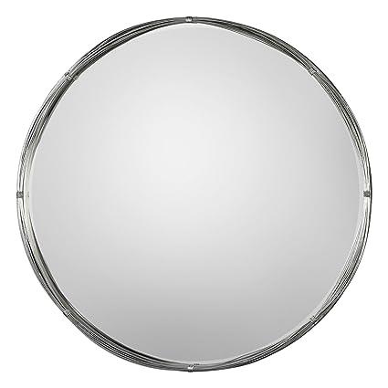 40 round mirror reclaimed wood round wall minimalist modern loft silver round wall mirror 40quot vanity industrial amazoncom 40