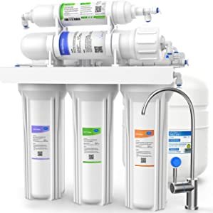 SimPure 100 GPD Reverse Osmosis Water Filter System, Under Sink 5 Stage RO Drinking Water Filtration Purifier, NSF Certified, High Capacity, TDS Reduction, Superb Taste, with Faucet and Tank - T1