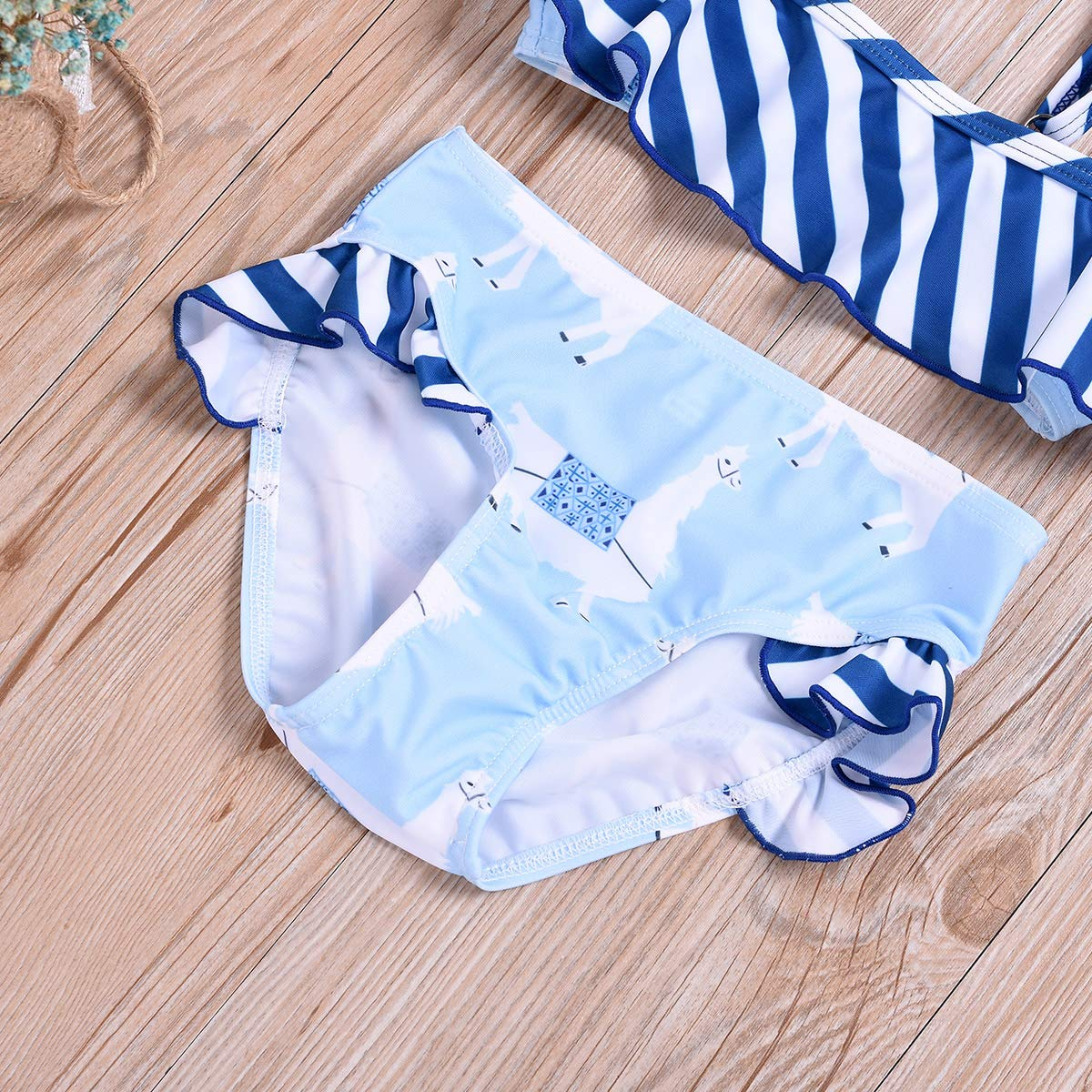 Camidy 1-7T Kids Toddler Baby Girl Swimsuit Ruffle Stripe Alpaca Swimwear Bathing Suit
