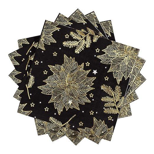 Servilletas de papel Whaline de Navidad, color negro con ...