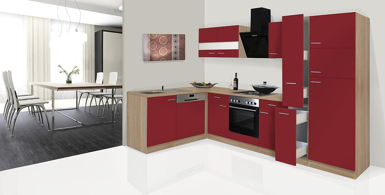 respekta Economy ángulo de l Forma de Cocina Roble Rojo 310 ...