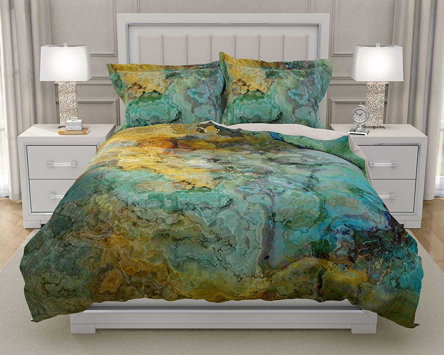 Image of Home and Kitchen King or Queen 3 pc Duvet Cover Set with abstract art, Kinetic
