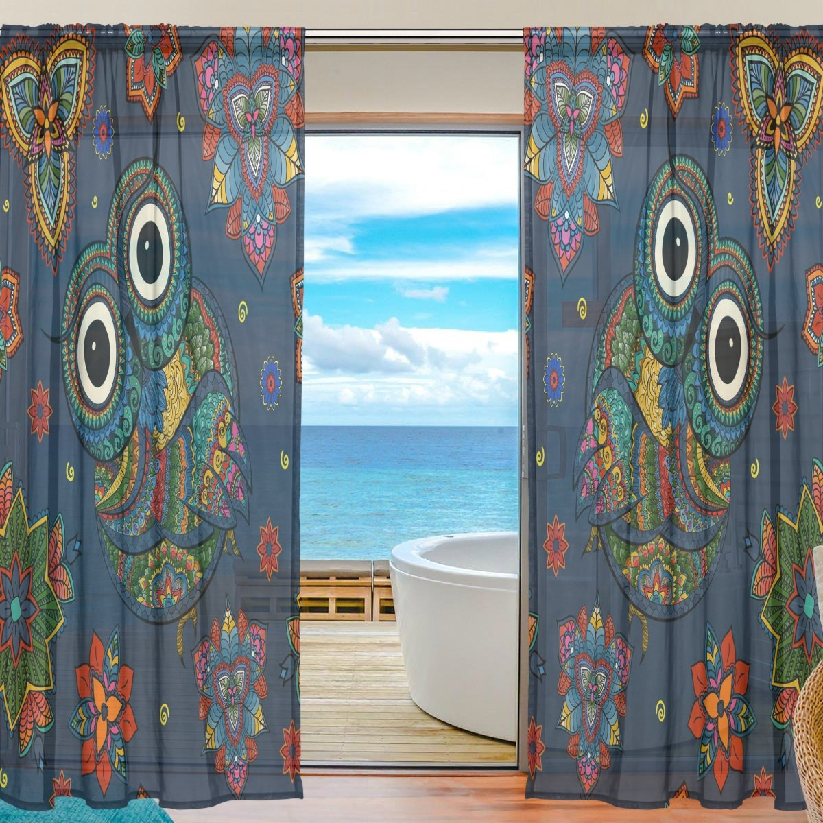 SEULIFE Window Sheer Curtain Tribal Animal Owl Boho Floral Voile Curtain Drapes for Door Kitchen Living Room Bedroom 55x78 inches 2 Panels by SEULIFE