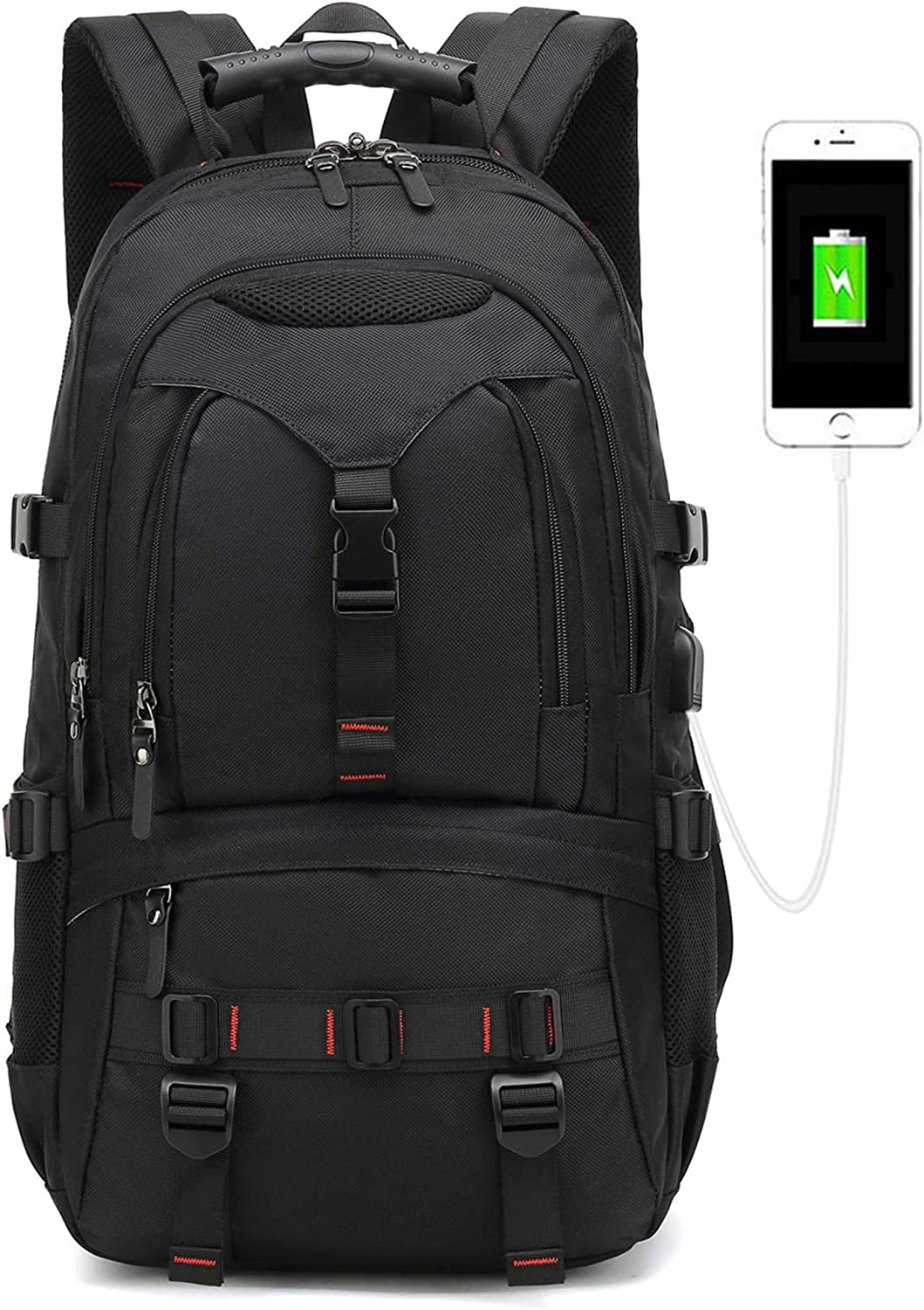 2019 New Model laptop backpack,anti theft with USB Charging Port Mobile charge ackpack 17-inch business Travel school Computer backpack for men women Waterproof Backpack college students bag black