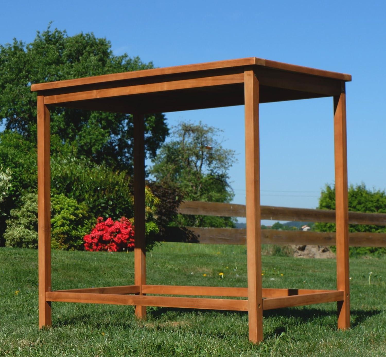 Teca Bar Mesa bistro mesa Pie mesa 120 x 70 cm Mesa de madera mesa de jardín mesa de jardín de madera, modelo: bima de 120 x 70 de as de S