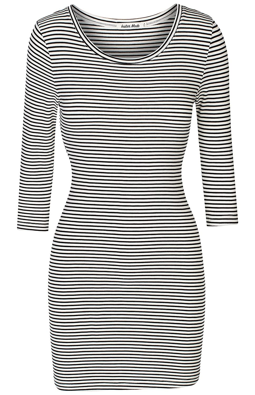 D37813 White Instar Mode Women's Classic Casual Jersey Striped 3 4 Sleeve Bodycon Dress