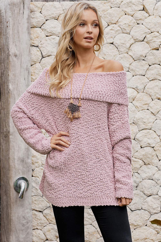 Women\'s Off Shoulder Sweater Bat Long Sleeve Solid Color Loose Oversized Pullover Knit Jumper Top Pink