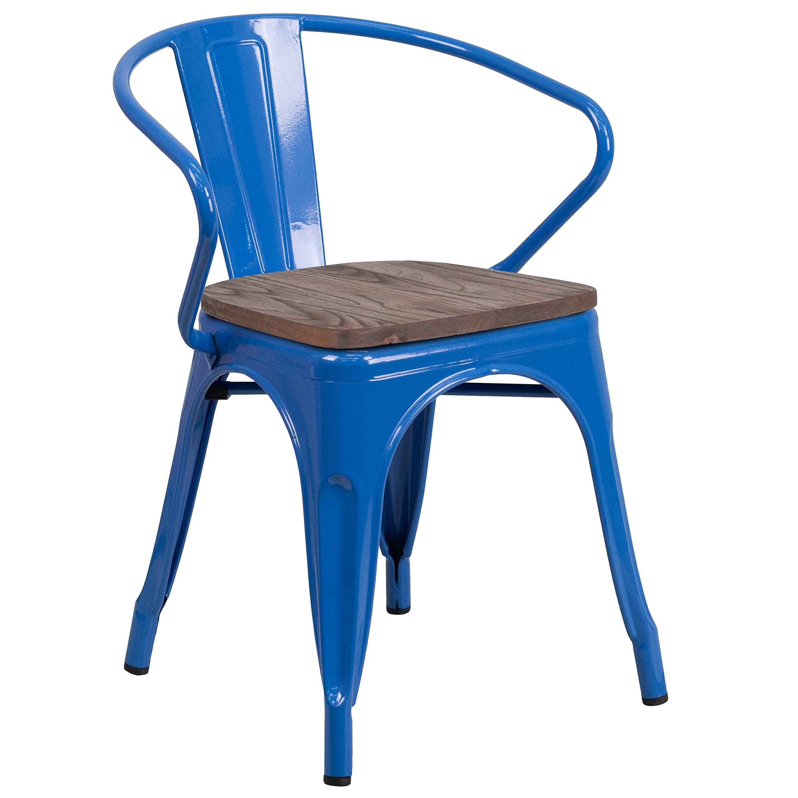 MFO Blue Metal Chair with Wood Seat and Arms by My Friendly Office