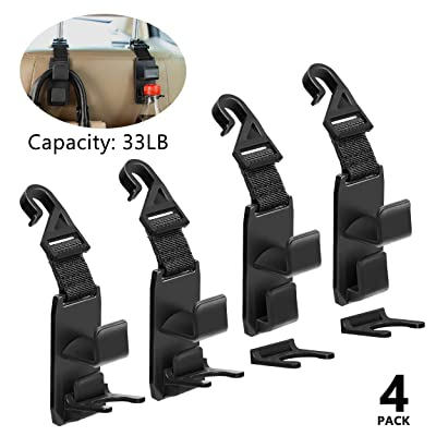 Headrest Hooks with Bottle Holder for Car Front Back Seat Strong and Durable Hooks Holder with 33Ib Capacity for Tote Bag, Laptop Bag, Shopping Bag, Backpack, Drinking, Universal, 4 PC: Home Improvement
