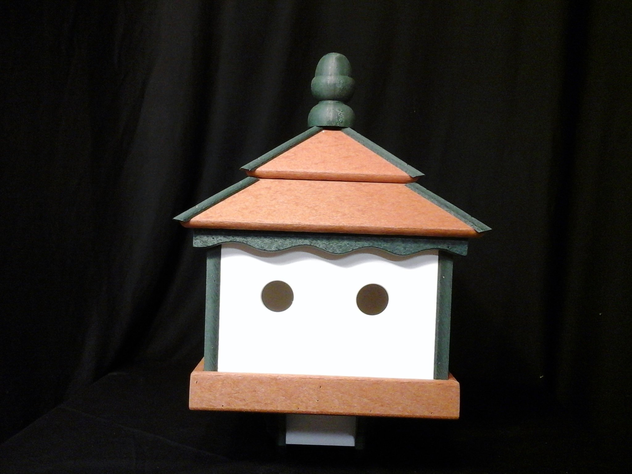 Square Poly Bird House Amish Gazebo Handcrafted Homemade Cedar-Green-White