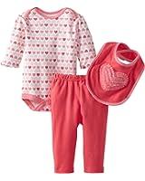 Bon Bebe Baby-girls Newborn Hearts 3 Piece Pant Set