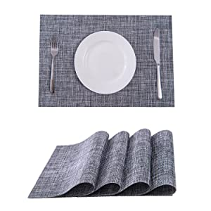SUNSHINE FASHION Placemats,Placemats for Dining Table,Heat-Resistant Placemats, Stain Resistant Washable PVC Table Mats,Kitchen Table mats (4, Smoky Grey)